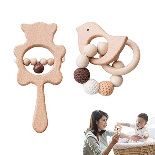 Promise Babe 2pc Juguete de Mordedor de Madera Para Bebé Pulsera de Madera de Haya Animal Actividad Sensorial Recién Nacido Campana Sonajero Juguete Montessori