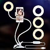 Galapar Anillo de Luz Selfie, LED Luz Anular con tripode para movil Brazo Largo Flexible 3 Modos de Iluminación para Maquillaje TIK Tok Vivo Facebook y Youtube Vlog