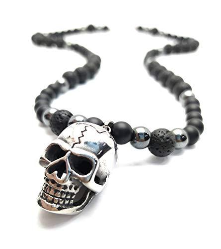 Collar de hombre calavera perlas de ónix piedra preciosa acero inoxidable 316L collar de calavera rosario joyería/ALLA