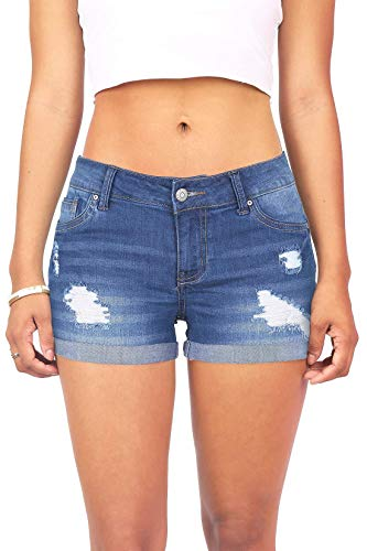 Wax Women's Juniors Body Enhancing Denim Shorts (M, Med. Denim)