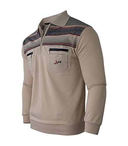 Soltice Herren Langarm Sweatshirt, Poloshirt, Polohemd, Blousonshirts mit Kragen (M bis 3XL) (M, [D4] Beige)