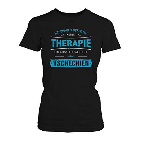 Fashionalarm Damen T-Shirt - Ich brauch Keine Therapie - Tschechien | Fun Shirt mit Spruch Urlaub Prag Brünn Karlsbrücke Veitsdom Prager Burg, Farbe:schwarz;Größe:3XL