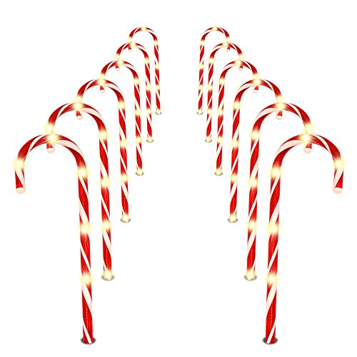 "Joiedomi Christmas Candy Cane Pathway Markers Lights 12"" Set of 12 Christmas Stakes Lights Outdoor Pathway Decorations"
