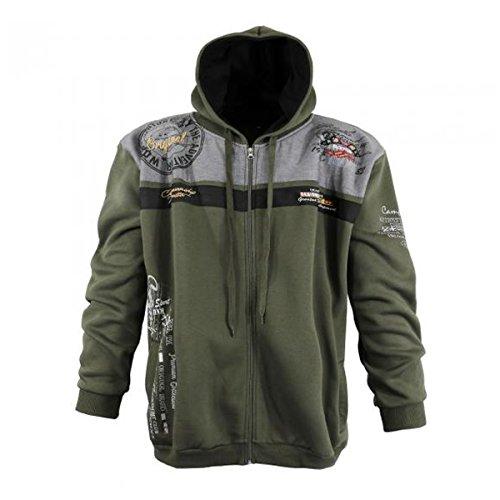 Lavecchia Coole Sweatshirt Jacke mit Kapuze in Übergröße Größen 3XL bis 8XL Khaki: 5XL