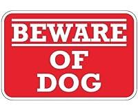 ――BEWARE―― OF DOG 犬に気を付けて/犬に注意マグネットサイン 横タイプ レッド 赤色 U.S.A Design