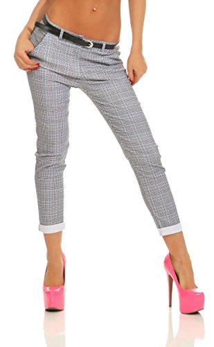 Fashion4Young 11539 Damen Hose Treggings Business Kariert Damenhose Büro Karohose Stretch Low-Waist (hellblau, 40)