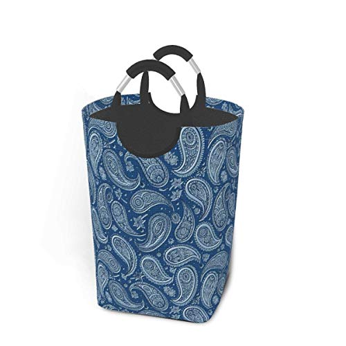 XCNGG Laundry Hamper Storage Bin Paisleyblue Large Collapsible Storage Basket for Dirty Clothes Toys Books