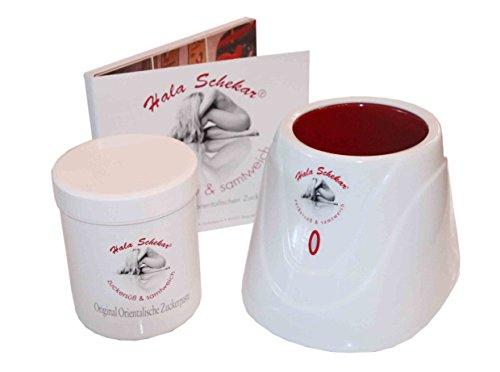SET: Haarentfernung, Enthaarung mit Hala Schekar Orientalischer Zuckerpaste – Starter-Set: Dose Zuckerpaste 400g, Wärmegerät und Anwender-DVD