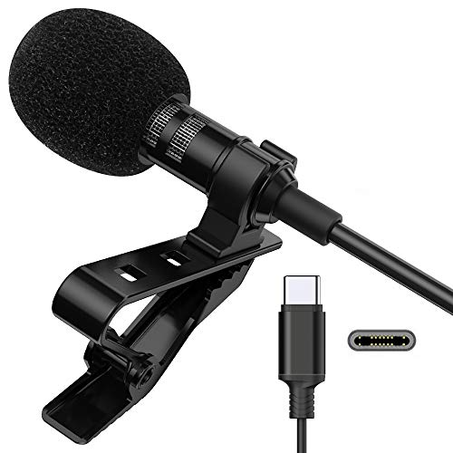 Microphone Professional for USB C Lavalier Lapel Omnidirectional Condenser Mic for Pixel for LG for Galaxy Phone Clip-on Mic for Youtube, Vlog Recording, Interview for Android Type-C Device (6.6ft)