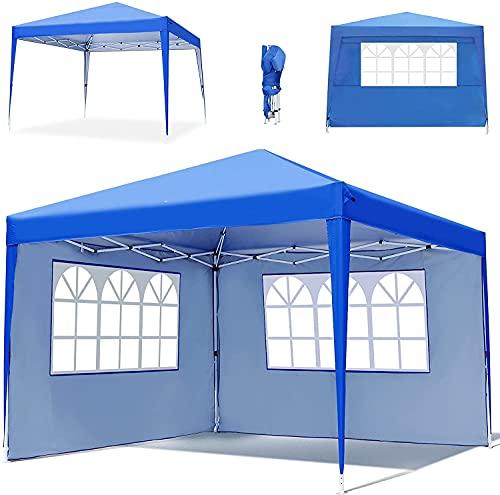 Tonnelle de Jardin Tente 3x3M, Gazebo Tonnelle Pliable Imperméable et 4 Côtés, 3 Types de Hauteur Réglable, Convient pour Le Camping, la Plage, la Cour