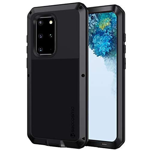 seacosmo Samsung Galaxy S20 Plus Hülle, Aluminium Stoßfest Handyhülle Doppelte Schutz Outdoor Hülle Robust Schutzhülle für Samsung Galaxy S20+ Plus, Schwarz