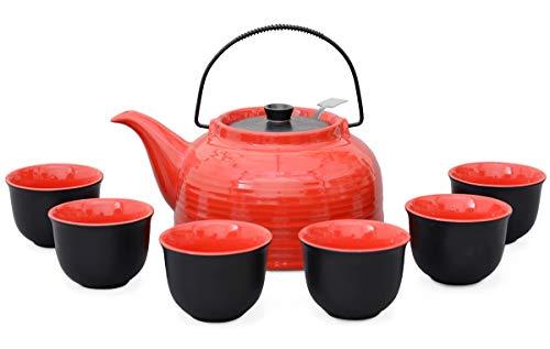"""Aricola Teeservice """"Nelly"""". Moderne Teekanne 1,5 Liter in rot/schwarz aus hitzebeständiger Keramik mit Edelstahlfilter und 6 Teecups 120ml in rot/schwarz."""