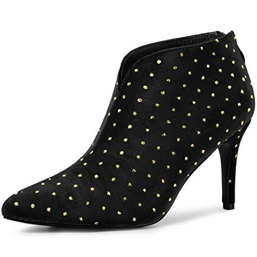 Allegra K Damen Spitze Strass V-Form Stiletto Samt Ankle Boots Stiefel Schwarz 40 EU