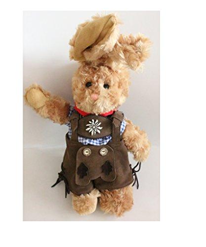 Haas in klederdracht-lederen broek, ca. 40 cm - pluche hak draagt een echte Beierse lederbroek met hertshoornknopen; materiaal: pluche, broek van leer, katoenen hemd - maat: H 40 cm.