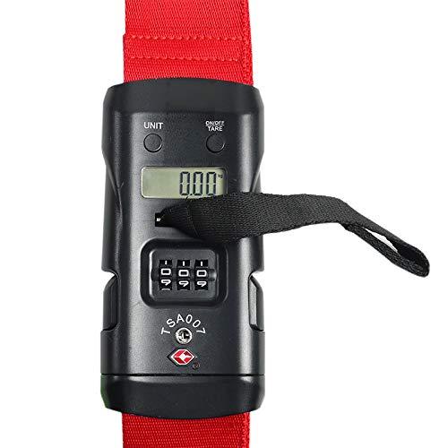 スーツケースベルト TSA ロック 3桁ダイヤル 重量計付 レッド