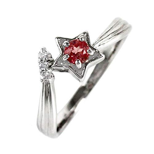 [リュイール] ガーネット プラチナ Pt900 スター 星 一粒 1月 誕生石 ダイヤモンド リング レディース 7号