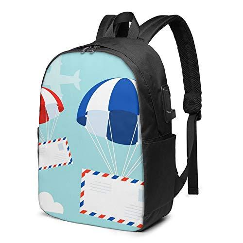 Laptop Rucksack Business Rucksack für 17 Zoll Laptop, Fallschirm Himmel Fliegende Flugzeugwolken Schulrucksack Mit USB Port für Arbeit Wandern Reisen Camping, für Herren Damen