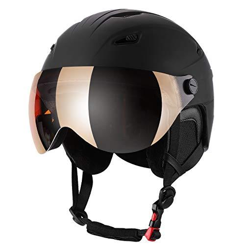 KUYOU Skihelm Schneehelm mit abnehmbarem Skibrillenglas EN1077 Zertifizierte Sicherheit, Dial Fit, warme Flusen-Ohrpolster Snowboardhelm für Herren, Damen und Jugendliche (L)