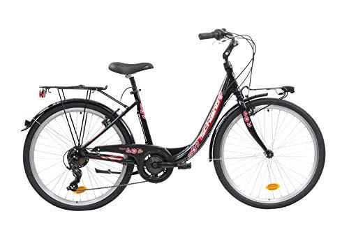 F.lli Schiano Elegance Bicicleta Urbana, Women's, Negro-Rojo, 26''