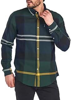 Barbour MSH4817-TN55 Tartan 7 Button Down - Camisa de hombre con estampado de tortuga verde marino de franela con bolsillo...