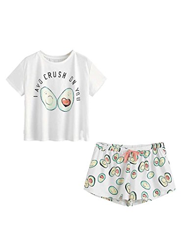 DIDK Damen Übergroß Pyjama Set mit Avocadomuster und Kordelzug ,Muster 1 - L