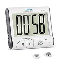 Timer Cucina, YXwin Magnetico Digitale Elettronico 24 Ore Timer da Cucina con Display LCD e Allarme Forte Conto Alla Rovescia e Cronometro Stand Retrattile