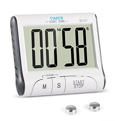 Temporizador de Cocina, YXwin Digital Temporizador Timer Cocina Magnético 24 Horas Reloj Despertador con Pantalla LCD de Gran Tamaño Retráctil Soporte