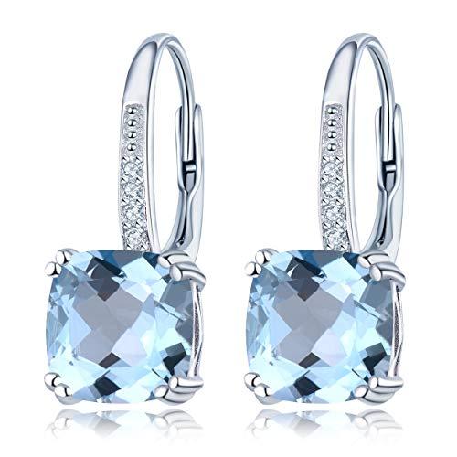 Orecchini pendenti in argento 925 con topazio blu cielo, con pietra preziosa naturale e pietre alla moda, per donne e ragazze, idea regalo