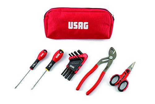 USAG U00070053-007 SB 178 NC Bolsa de herramientas compacta con destornilladores, llaves hexagonales, alicates ajustables y tijeras, 13 piezas