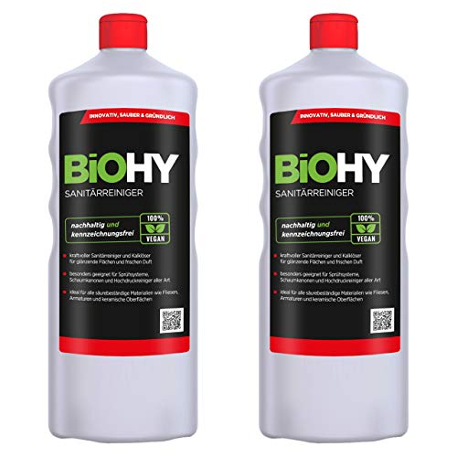 BiOHY Limpiador sanitario (2 botellas de 1 litro) | Concentrado de cal para el área sanitaria | Deja un agradable y fresco aroma | EXTRA FUERTE (Sanitärreiniger)