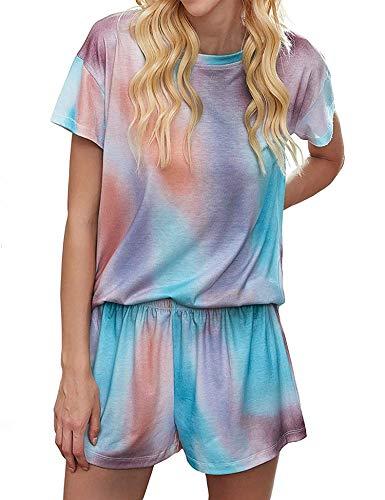 Kikibell Pajama Sets Women Cotton Top Sleepwear, Short Plaid Bottoms Nightgowns