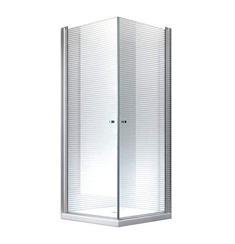 100x100x195cm (ohne Duschtasse) - Zeus Pendeltür Duschkabine Dusche Duschabtrennung / Hebe- und Senkmechanismus