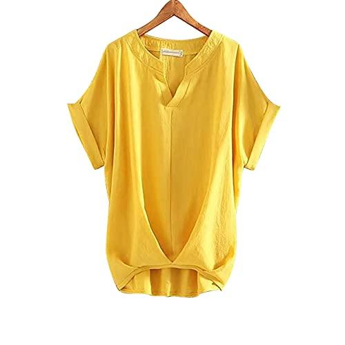 Younthone Damen Sommer Casual Tops Kurzarm V-Ausschnitt Loose Basic T-Shirts T-Shirt Bedruckte Seite Split Tunika