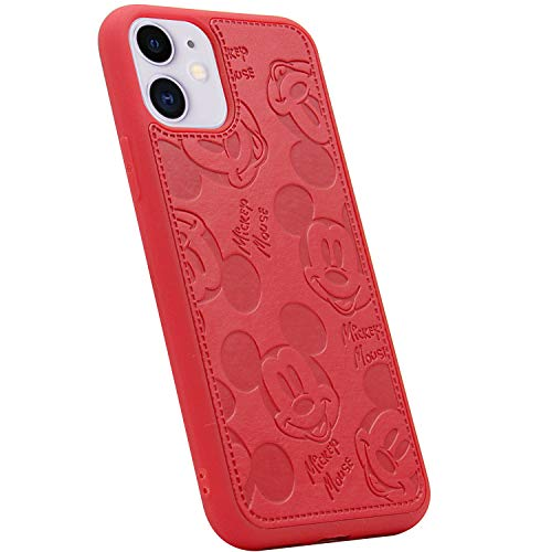 MC Fashion iPhone 11 Case, Cute Cartoon Mickey Mouse Solid Color Faux PU Leather Full-Body Protective Skin Soft TPU Case for iPhone 11 6.1 inch (Red)