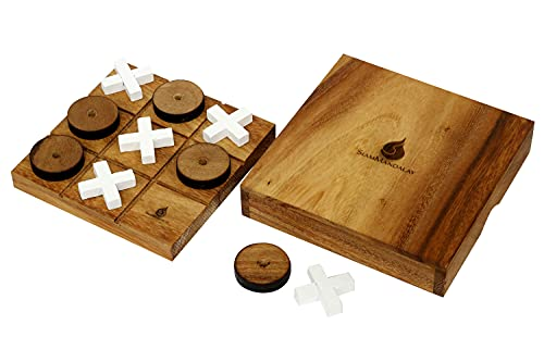 Wooden Tic Tac Toe Set - Wood XOXO Board Game (Naughts and Crosses)   Classic Family Table Game  ...