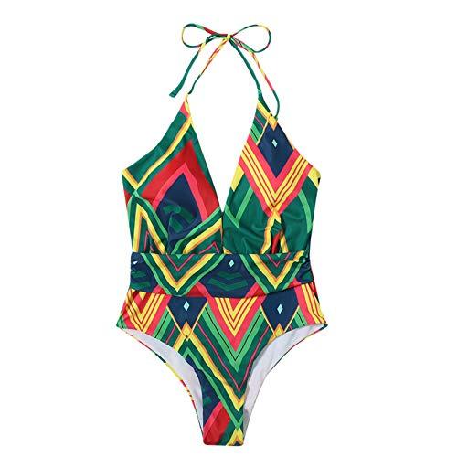 Women Sling Tie Dye Tankini Swimsuits Deep V Neck One Piece Tummy Control Swimsuit Swimwear Cover Ups for Women Sexy Strappy Bandage Bikini Bathing Suits Plus Size(M,Green)