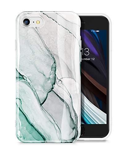 GVIEWIN Marble iPhone SE 2020 Case/iPhone 8 Case/iPhone 7 Case, Ultra Slim Thin Glossy Soft TPU Rubber Gel Phone Case Cover Compatible iPhone SE2/iPhone 7/8 4.7 Inch (Agaria/Cyan)