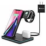 Wireless Charging Station, 3 in 1 Qi Charger for Apple Watch 1 2 3 4 5/Airpods, Wireless Charger for iPhone 11/11 Pro/11 Pro Max/XS Max/XS XR Plus Samsung S10 S9 S8 S7 and Qi-Certified Phones