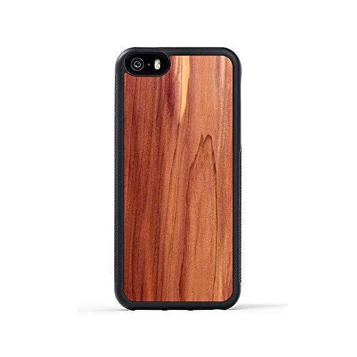iPhone 5 / 5s / SE Cedar Wood Traveler Case by Carved, Unique Real Wooden Phone Cover (Rubber Bumper, Fits Apple iPhone 5 / 5s / SE)