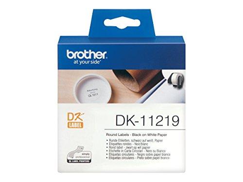 Brother DK11219 Runde Etikettenrolle weiss 1200Stk/Roll 12mm Durchmesser für QL-500 QL-550
