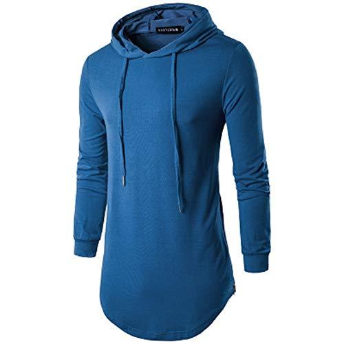 Herren Hipster Hip Hop Hoodie Langarm Longline Pullover Hoodies Shirts S-2XL Gr. Small, blau