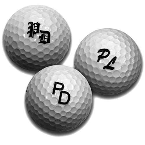 elbedruck Golfball mit Gravur Initialen für Golfspieler/in Lasergravur Dein Text personalisiert, Golfsport Wunschtext personlisieren, 3 Golfbälle (3 Stück Wilson 6,98/STK)