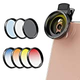 Apexel 2020 Newly Phone Camera Graduated Color Filter Accessory Kit - Adjustable Blue/Oran...
