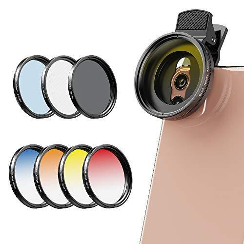 A Apexel Phones Kits de filtres pour objectifs d'appareils photo-52MM Filtre de Couleurs graduées (Bleu, Jaune, Orange, Rouge) Filtres CPL, ND32 et Star pour Nikon Canon Gopro et Smartphone