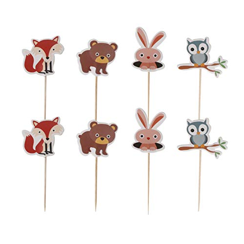 FIREFLY Forest Animal 24 Cupcake Toppers Baby Shower Decorations Party Cake Decorating Supplies First Birthday Decorations Kids Children Baking Supplies Gender Reveal (Forest 24)