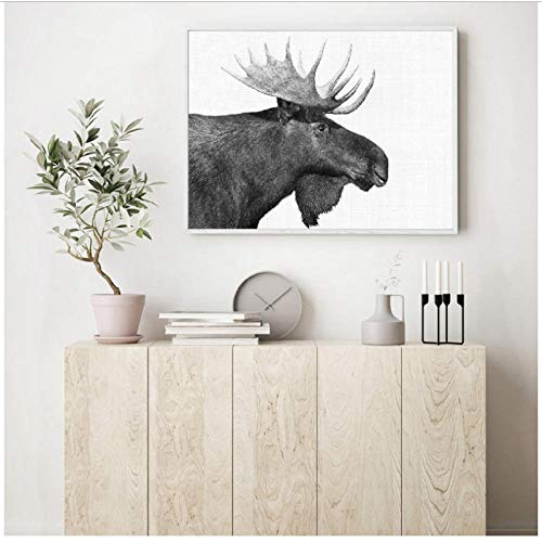 Forest Animal Moose Boerderij Muur Kunst Doek Poster Print Zwart Wit Fotografie Retro Wandfoto Boerderij Huis Rustiek Decor 60x80cm Geen Frame