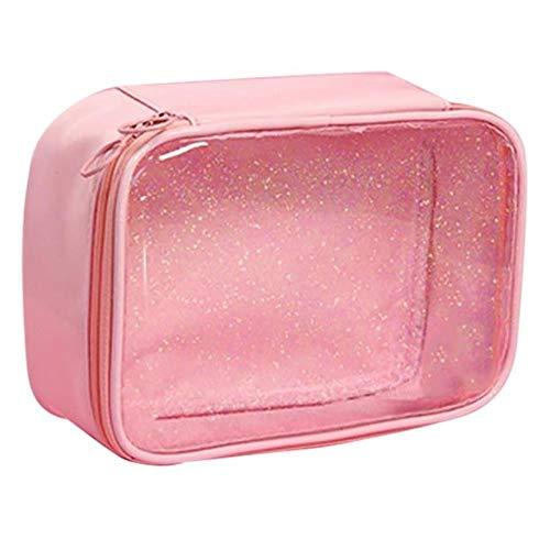 ZHANGCHI Trousse De Maquillage Mode Motif Transparent Étoile Sac Portable Toilette Multi-Usage Clearwindow Sac Cosmétique Sac De Maquillage pour Voyage,Rose