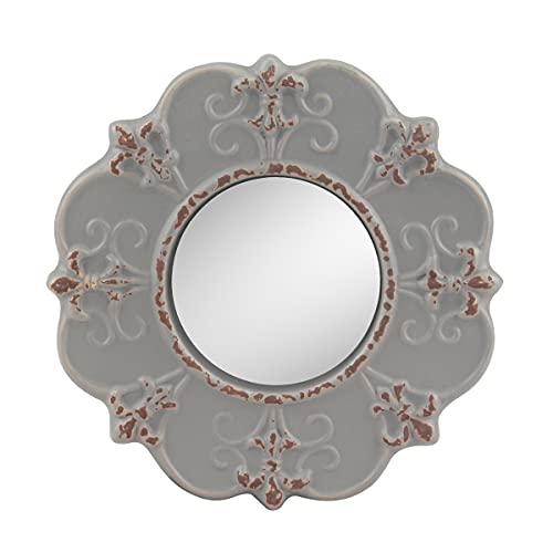 Stonebriar decorative round antique gray ceramic wall mirror, vintage...