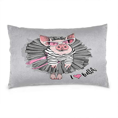 Wozukia Funny Pig Throw Pillow Cover in A Striped Cardigan in A Ballet Black Tutu Skirt and Pink Sunglasses Cotton Linen Decorative Rectangular Pillowcase for Sofa and Bed Couch 12'X20'