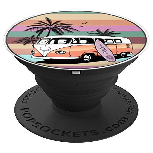 Outer Banks,Surfer Style, Hippie Bus auf retro Streifen - PopSockets Ausziehbarer Sockel und Griff für Smartphones und Tablets
